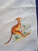 Marvelous Vintage Hanky  Hand  Embroidery Kangaroo Australia