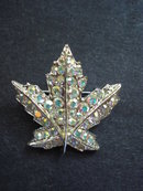Antique Brooch Jewelled Leaf