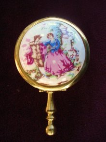 Portable Purse Ashtray Brass/Porcelain