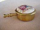 Portable Purse Ashtray Brass/Porcelain