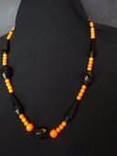Black Bead Coral Necklace 14k