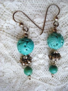 Earrings Antique Carved