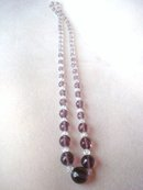 Crystal Necklace Antique Purple / Clear Beads