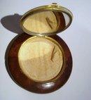 Vintage Bakelite Compact Brown Woodgrain