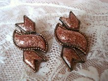 Art Deco Earrings Gold Stone