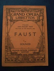 Opera Faust Book by J. Barbier and M Carre