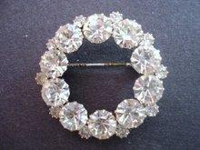 Rhinestone Brooch Clear Crystal Stones