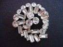 Deco Rhinestone Brooch Clear Crystal
