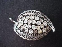 Silver Tone Brooch Crystal Rhinestones