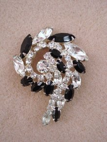 Rhinestone Brooch Black and Clear Rhinestones