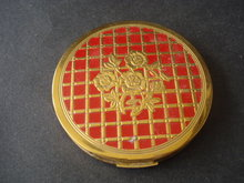 Antique Powder Compact Red Gold Tone