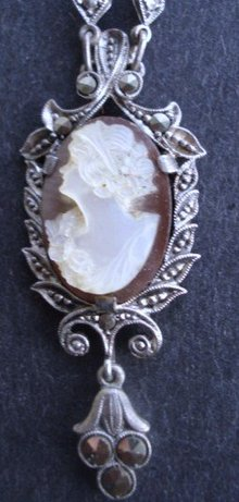 Cameo Necklace Sterling Pearl