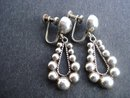 Elegant Silver tone Drop Earrings Screw Back