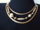 3 Strand Necklace Gold Tone
