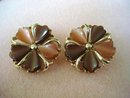 Marvelous Thermoset Clip Earrings Pretty Flowers