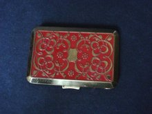 Powder Compact Red Enamel Gold Decoration