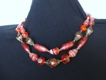 Art Glass  Bead Necklace Celluloid Glass Metal