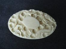 Marvelous Ivory Brooch Dragon Oval Shape Brooch Vintage Brooch