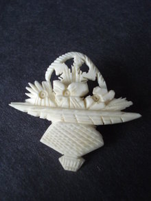 Highly Detailed Vintage Ivory Brooch Hand Carved Floral Design