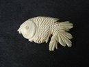 Amazingly Detailed Ivory Brooch Hand Carved Angel Fish