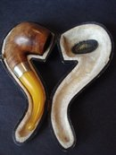 Antique Pipe Real Amber Silver Wood in Case