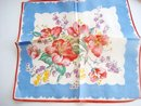 Antique Handkerchief Hanky Roses and Daisies