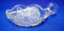 Old Cut Crystal One Handle Dish