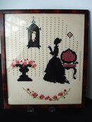Needlework Silhouette Picture Sampler Style