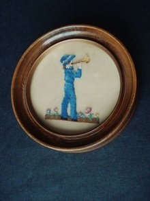Petit Point Picture Boy with Trumpet
