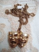Lovely Vintage Gold Pendant and Chain Theatre Masks