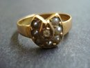 Victorian Ring 15k Gold Diamond and Pearls