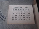 Antique Wall Calendar circa 1935