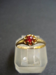 Gold Ring Ruby Stone 18k