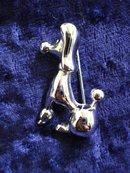 Silvertone Poodle Brooch Fancy Poodle Dog