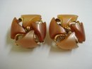 Marvelous Vintage Thermoset Earrings Shades of Brown and Beige