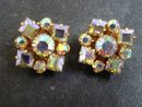 Iridescent Diamante Earrings Clip on