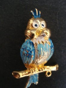Antique Owl Brooch Colourful Wise Owl