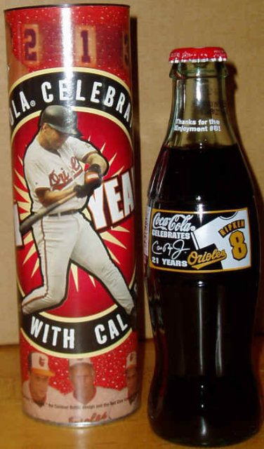2001 Coca-Cola Cal Ripken Celebrates 21 Years Commemorative Bottle in Canister