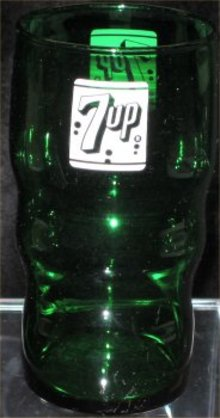7 Up Emerald Green Glass - 1950s