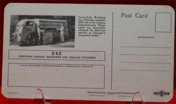 Coca Cola International Harvester Truck Postcard - 1930s