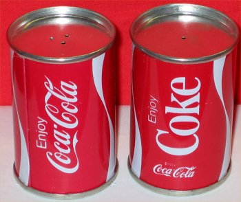 Coca Cola Can Salt and Pepper Shakers  - 1970s