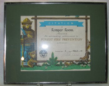 Smokey Bear Fire Prevention Certificate for Romper Room