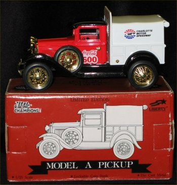 Coca Cola 600 Model A Pickup Truck Bank - 1992