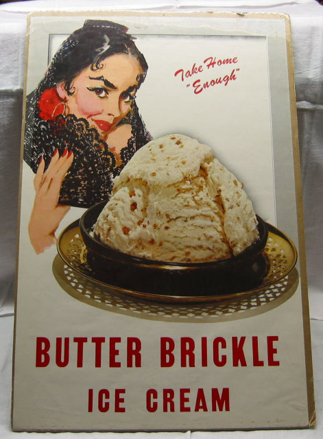 Butter Brickle Ice Cream Paper Sign