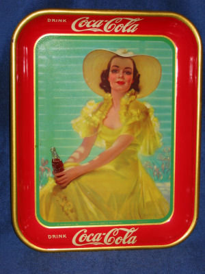 1938 Coca Cola Tray - Girl in the Yellow Dress