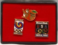 Minute Maid Seoul Olympics Pin Set - 1988