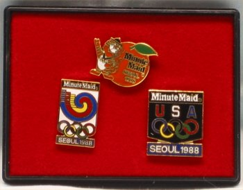 Minute Maid Seoul Olympics Pin Set - 1988