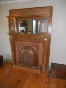 Antique Bookcase Fireplace Mantle with leaded glass - in Quarter-Sawn Oak