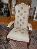 Antique Victorian Walnut Rocker with needlepoint fabric