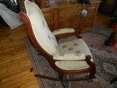 Antique Victorian Walnut Rocker with needlepoint fabric